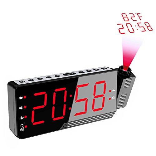 Orologio con Proiezione,LED Sveglia Digitale da Comodino, Orologio da Scrivania con Funzione Snooze, Radiosveglia con auto spegnimento per il sonno,Temperatura Interna e Umidità,12/24 Ora, Nero