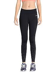 MotoRun Pantalones Deportivos de Mujer para Ejercicios de Fitness con Estampados Reflectores Mallas Deportivas Secadas de Running Yoga