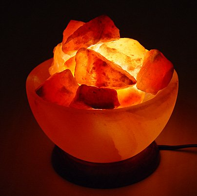 FIREBOWL CRAFTED HIMALAYAN CRYSTAL ROCK SALT LAMP WITH BUTTON SWITCH AND BRITISH...