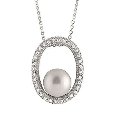 Bella Pearls Freshwater Pearl and Cubic Zirconia Oval Pendant on Sterling Silver Chain of Length 46 cm