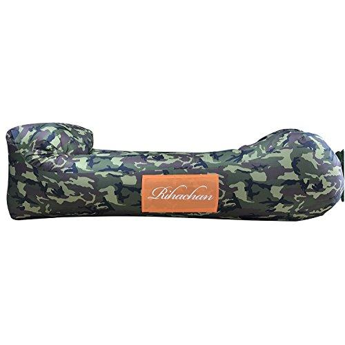 Aufblasbare Liege, Air Sofa, Fast Inflate von Wind oder Air Pump, Wasserdichte Air Bag Stuhl Sofa, ideal für Reisen, Camping, Wandern, Pool und Beach Parties, Lazy Hangout Couch Bed (SF-Camouflage-LH, 1-pack)