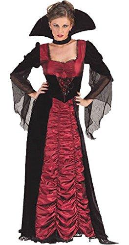 lang voll Länge Taftkleid Vampirin Halloween Kostüm Kleid Outfit UK 10-12 - Rot, 10-12 ()
