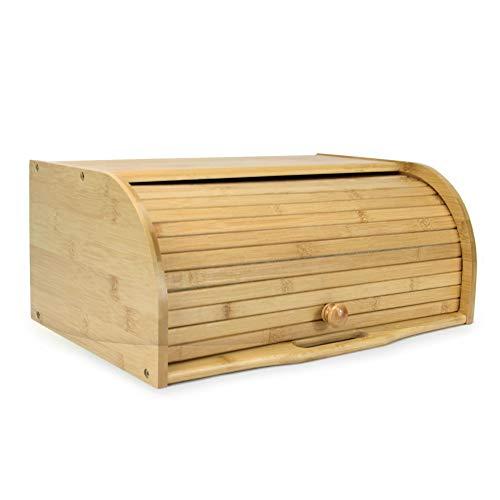 Bandeja de pan de bambú | Caja de pan enrollable | Contenedor de madera para cocina |...