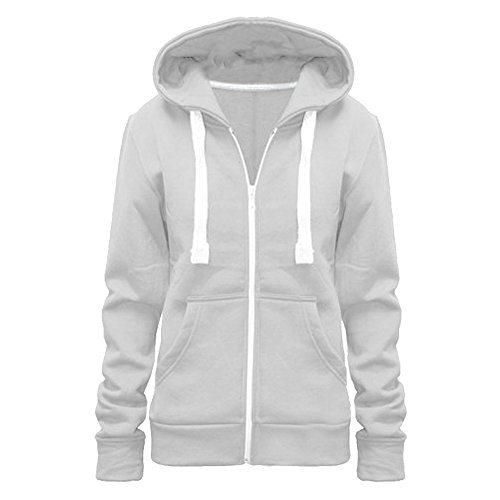 Ladies Girls Womens New PLUS SIZE Zip Up Sweatshirt Hooded Hoodie Hoody Coat Jacket Top UK Size 8-28 (UK SIZE M/10, WHITE)
