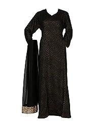 A M Creations Black Color Stylish Burqa / Stylish Islamic Burqa For Young Women (Medium, Black & Golden)