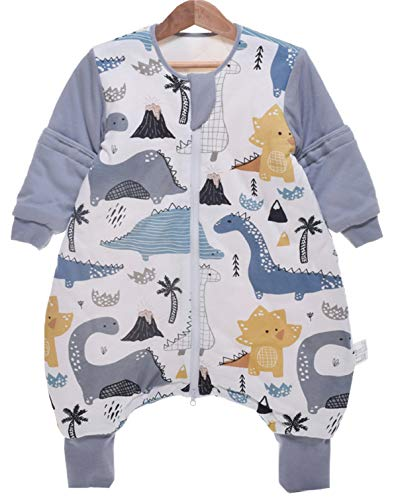 Chilsuessy Baby Ganzjahres Kinderschlafsack mit Füssen 2.5 Tog,Kleinkind Winter Schlafsack mit abnehmbar Ärmel (90/Baby Höhe 95-105cm, Dinosaurier Park)