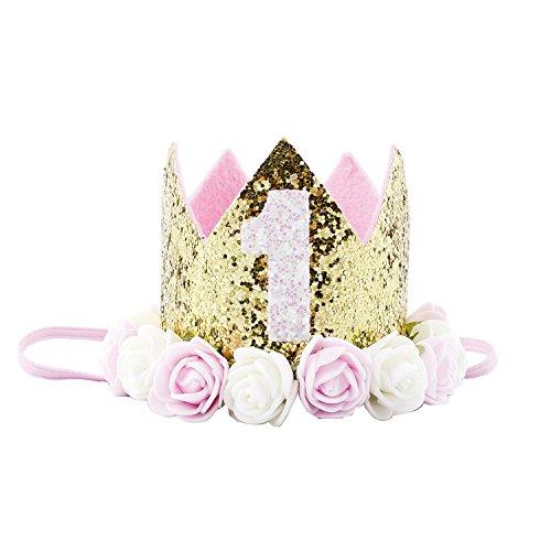 COUXILY 1 Stk Geburtstag - krone Stirnbänder Baby Birthday Tiara Mädchen Glänzend Krone Geschenksets Haarband (CR02) (Halloween Birthday Party-jahr Alt)