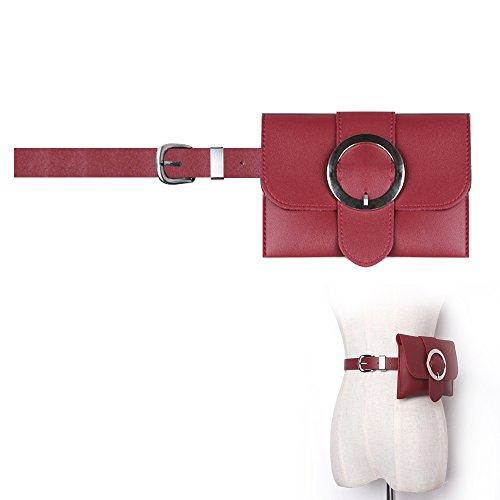 Famhome Leder-Gürteltasche, abnehmbare Taillenband Taille Beutel Reiasche Große Schnalle rot (Abnehmbare Schnalle Rot)