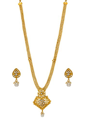 Bindhani® Traditional Multi-Strand Rani Har (Haar) Kundan Pendent Necklace Earrings Set For Women  available at amazon for Rs.421
