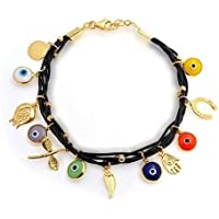 Bling Jewelry Multi Color oro 14k Vermeil pelle marrone Evil Eye braccialetto di fascino