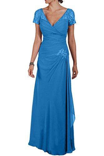 La_Marie Braut Elegant Chiffon V-ausschnitt Kurzarm Abendkleider Partykleider Formalkleider fuer brautmutter Lang Blau