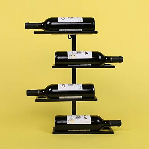 XP Weinregale Weinregal an der Wand befestigtes europäisches Retro- Schmiedeeisen, das hängendes Wein-Kabinett/Wein-Glas-Gestell-Stab-Wand-Gestell-Wein-Lagerung hängt,45 cm,Schwarz