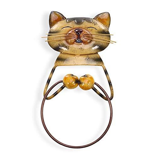 Joeesun Katze Handtuch Ring Halter Schwere Eisen Bad Aufhänger Handtuchhalter Schöne Tier Kunst Metall Skulptur Badezimmer Zubehör (Ring-halter Katze)