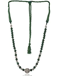 Enaakshi Fashion Jewellery Handmade Necklace With Green Beads Strand Oxidised Silver Pendant Necklace For Women...