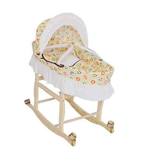 Fyabb cestino naturale del moses, cestino di sonno del bambino con la rotella ambientale multifunzionale di mute, per 0-8 mesi (giardino zoologico giallo)