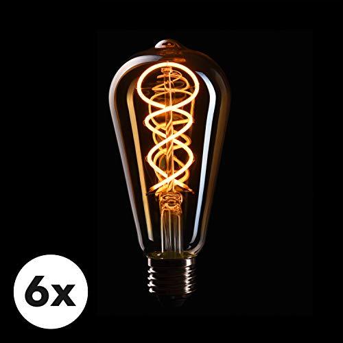 CROWN LED 6 x Edison Glühbirne E27 Fassung, Dimmbar, 4W, 2200K, Warmweiß, 230V, EL17, Antike Filament Beleuchtung im Retro Vintage Look