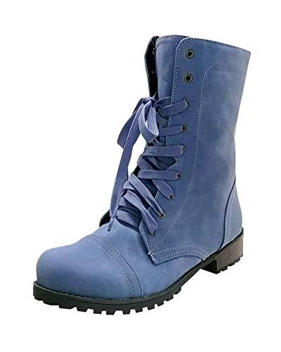 Minetom Mujer Botas De Martin De Cordones Botines Invierno Otoño Moda Elegante Tacón Ancho Bajo Tacones Casual Ankle Boots Azul EU 39
