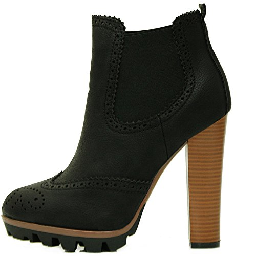 2c8df805ea9168 Julia Shoes© Chelsea Boots Stiefeletten in Schwarz mit Holz Absatz und  Profil Sohle (36