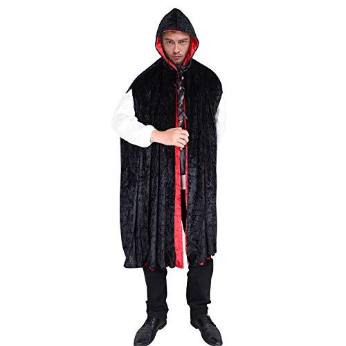 Wraith of East Erwachsene Kapuzen-Kostüm, lang, Halloween-Kostüm, Gothic, Vampir, Hexe, Zauberin, Cosplay, Umhang Unisex - Schwarz - Groß