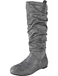 4f5b138aefe WOMENS PIXIE MID CALF ROUCHED FLAT PULL ON KNEE LONG LADIES SLOUCH BOOTS  SIZE 3-
