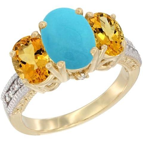 Revoni–Orecchini, in oro giallo 9kt, pietre e diamante 3pietra anello turchese ovale, e citrino size R - 3 Pietra Turchese Orecchini