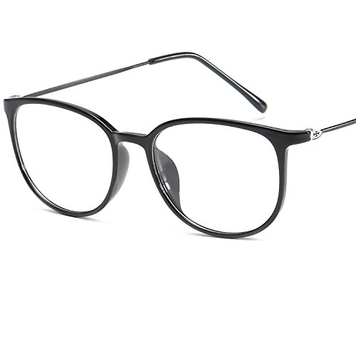 LANOMI Retro Nerdbrille Runde Brille Brillen Metallbügel Hornbrille Damen Herren Brillenetui (Glatt...
