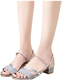 3d4cf2c17e TianWlio Sandalen Damen Sommer Mode Pailletten Sandalen Knöchel Mitte Ferse  Blockparty Offene Zehe…