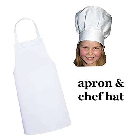 White kids'apron and chef hat set for kitchen, dress-up or craft party (M: 3-9 Years)