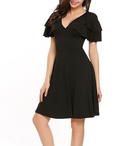 ... Meaneor Damen A-Linie Sommerkleid mit Volant V-Ausschnitt Businesskleid  Elegant Cocktailkleider Schwarz ...