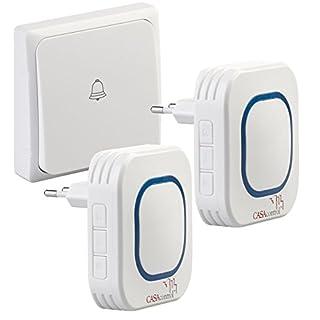 CASAcontrol Funkgong: Batterielose Funk-Türklingel, 2 Steckdosen-Empfänger, 58 Töne, IP55 (Türklingeln)