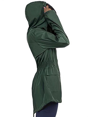 HENCY Damen Regenjacke Regenmantel Regenparka Übergangsjacke Funktionsjacke Mit Kapuze Wasserdicht Atmungsaktiv Winter Herbst Sommer Dunkelgrün