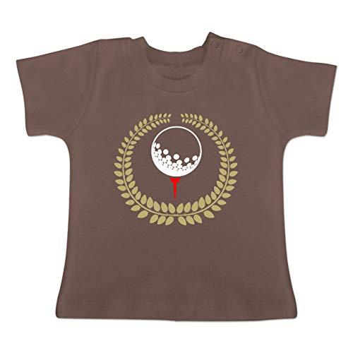 Sport Baby - Lorbeerkanz Golfball Golf-Tee - 1-3 Monate - Braun - BZ02 - Baby T-Shirt Kurzarm - Oma Golf Shirt