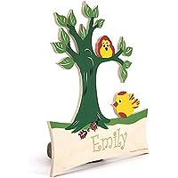 Baum mit Vogel - Türschild mit Name Gravur oder Buchstaben - Geburtsgeschenk, Geburtstagsgeschenk, Weihnachtsgeschenk