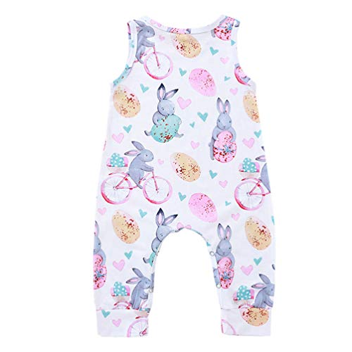Fenical Baby Bunny Outfit Hase Baby Kleidung Hase Onesies Bodys Ostern Baby Overall für Mädchen - Bunny Herz Muster (Weiß)