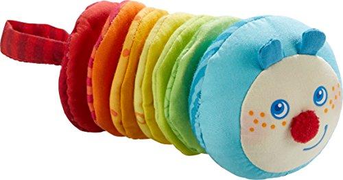 HABA 303192 - Ratterfigur Raupe Mina | Baby-Spielzeug aus der Serie Raupe Mina | Buntes Spielzeug aus Stoff mit Rattermotor | Ab 6 Monaten