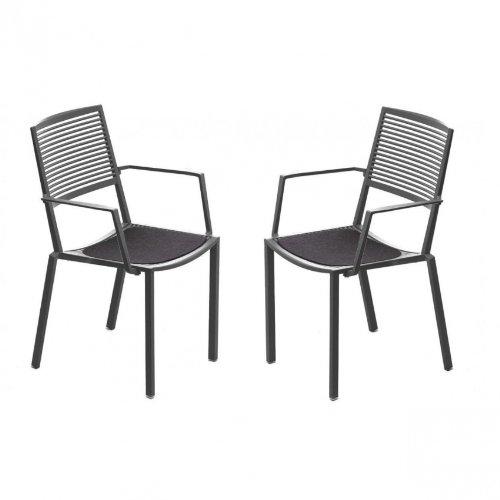 Weishäupl Easy Outdoor Armlehnstuhl Set 2 Stück, grau metallic pulverbeschichtet Inkl. 2 Auflagen anthrazit -