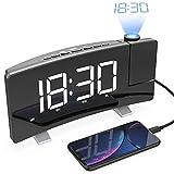 Acokki Sveglia con proiettore, FM Orologio con Grande LED Curva-Schermo Digitale da 7,5' Sveglia a proiezione con Doppio Allarme,Funzione Snooze,Timer spegnimento,dimmer,Backup Batteria, 12/24h