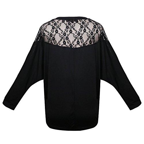 WanYang Donna Manica Lunga Cardigan Camicia Pullover Oversize Sciolta Maglietta A Pipistrello Nero