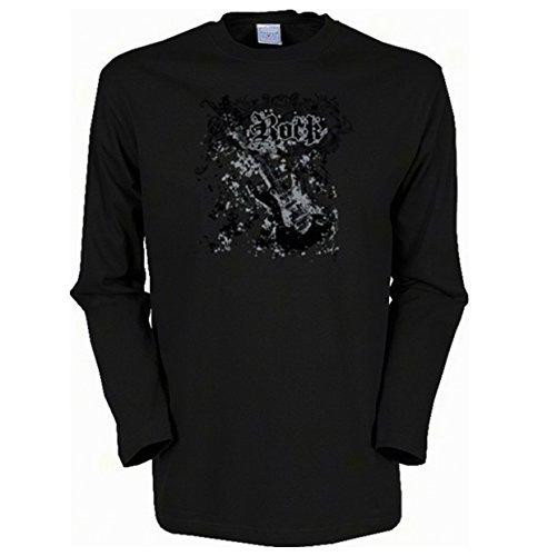 Cooles Herren Langarmshirt, Farbe: Schwarz, USA Musik Motiv: Rock Schwarz