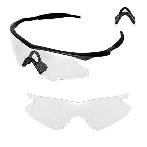Walleva Ersatzlinsen oder Linsen mit Nasenpolster für Oakley M Frame Heater Sonnenbrille - Mehrfache Optionen (Klare Linsen +Nasenpolster)