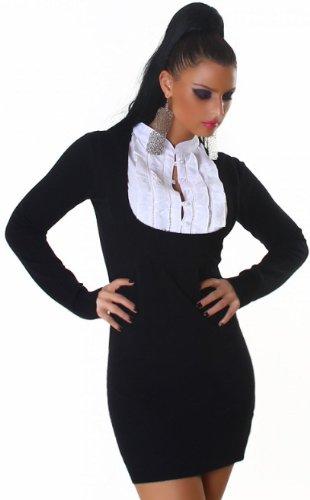 JELA London - Robe - Chemise - Uni - Manches longues - Femme Noir - Noir
