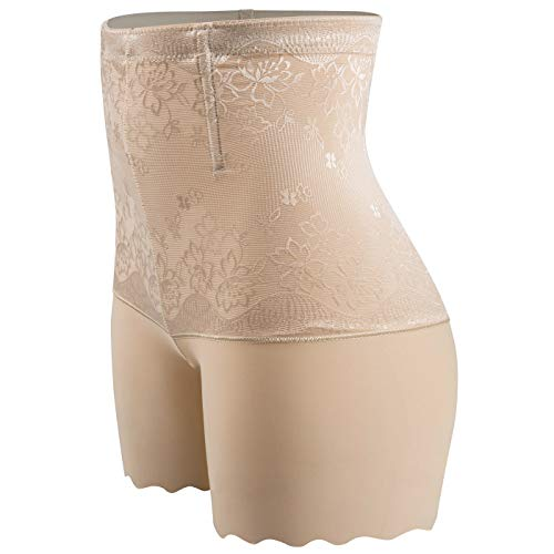 Manschette Kleid Hose (SURE YOU LIKE Damen Figurenformend Miederpants Miederhose Shapewear Bauch Kontrolle Unterwäsche Body Shape Nahtlose Boyshort, Gr.-Tag 2XL/EU(34-38) , Beige)