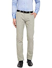 HANCOCK Sage Green Self Design Checked Stretchable Mid-Rise Slim Fit Chinos-2114sage