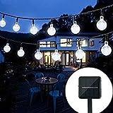 Oledank Solar Lichterkette, 6M 30 LED 2 Modus Lichterketten Kaltweiß, Batteriebetriebene String Lights für Innen, Garten, Hochzeit, Party, Weihnachten usw. -