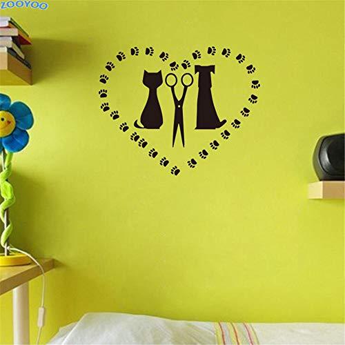 wlwhaoo Katze Hund Und Schere In Herzform Wandtattoo Pet Salon Wandaufkleber Abnehmbare Aufkleber Für Kinderzimmer Wohnkultur schwarz 37 cm x 29 cm