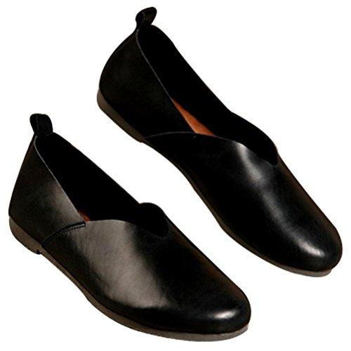 MatchLife Damen Vintage Casual Leder Flach Pumpe Schuhe Schwarz-Art 1