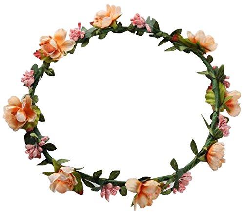Kissing U Braut Kranz Stirnband Blumen Haar Ornamente Girlande Fotografie Party (Orange)