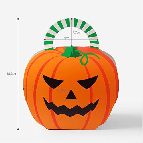NUOBESTY Halloween Kürbis Süßigkeiten Papiertüte Tote Faltgeschenk Verpackung Karton, 25 Teile / Satz (Bag Paper Halloween Designs)