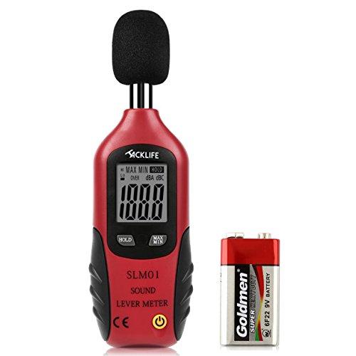 Tacklife Sonómetro Digital Medidor de Decibelios 30 - 130dba Registrador de Decibelímetro Digital con LCD Pantalla Retroiluminada 9V Pila Incluida para el Fábrica Oficina Cine ( Negro y Rojo
