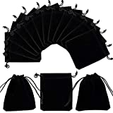 PandaHall Elite - 50Pcs Sachets Pochettes de Velours Rectangle Sacs à Cordon Sacs-Cadeaux pour Bijoux, Noir, 12x10cm